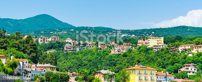 banner. The houses of Icici on the Mountain. Croatia