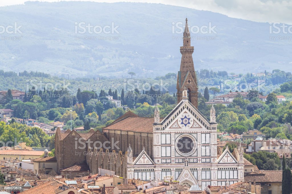 Panorama view on the Santa Croce church and old town in Florence, Italy stock photo