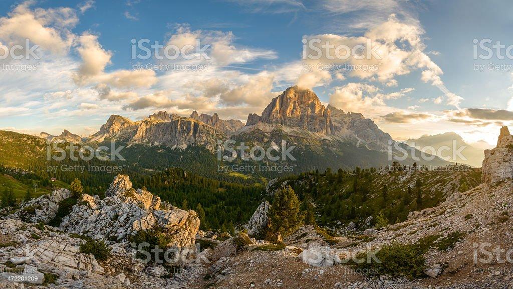 Panorama view on Tofane - Dolomites stock photo