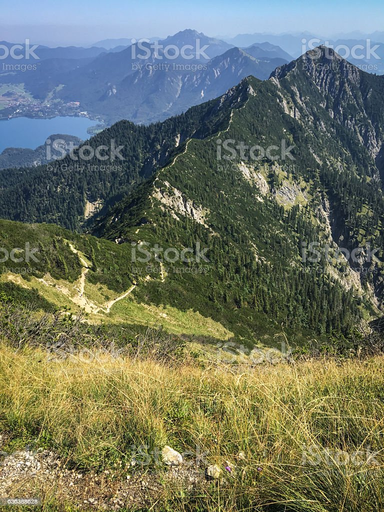 Panorama view over the Bavarian Alps stock photo