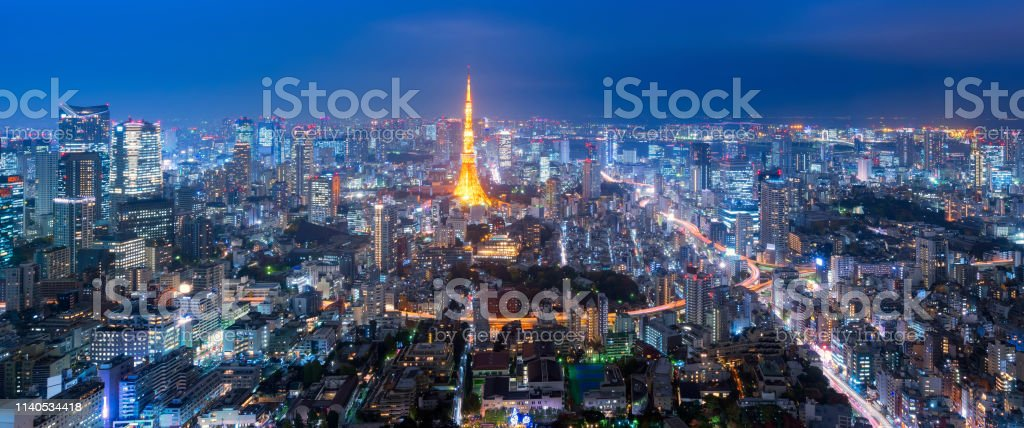 Panorama view over Tokyo tower and Tokyo cityscape view from Roppongi...