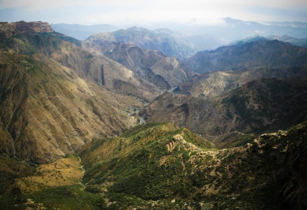 panorama view to adi alauti canyon in eritrean highlands, qohaito, eritrea - eritrea stock photos and pictures