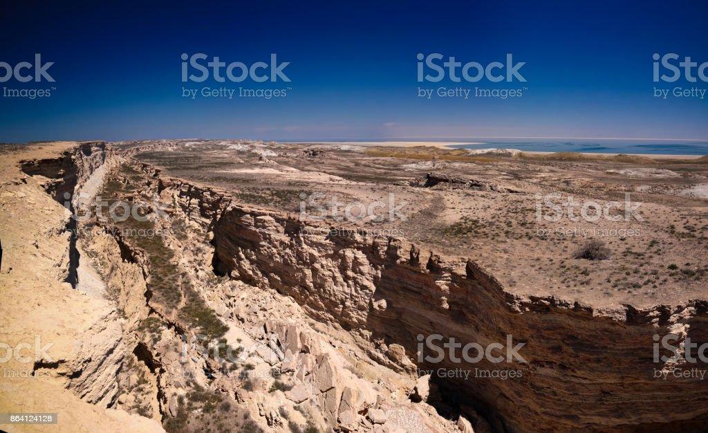Panorama view to Aral sea from the rim of Plateau Ustyurt near Duana cape , Karakalpakstan, Uzbekistan royalty-free stock photo