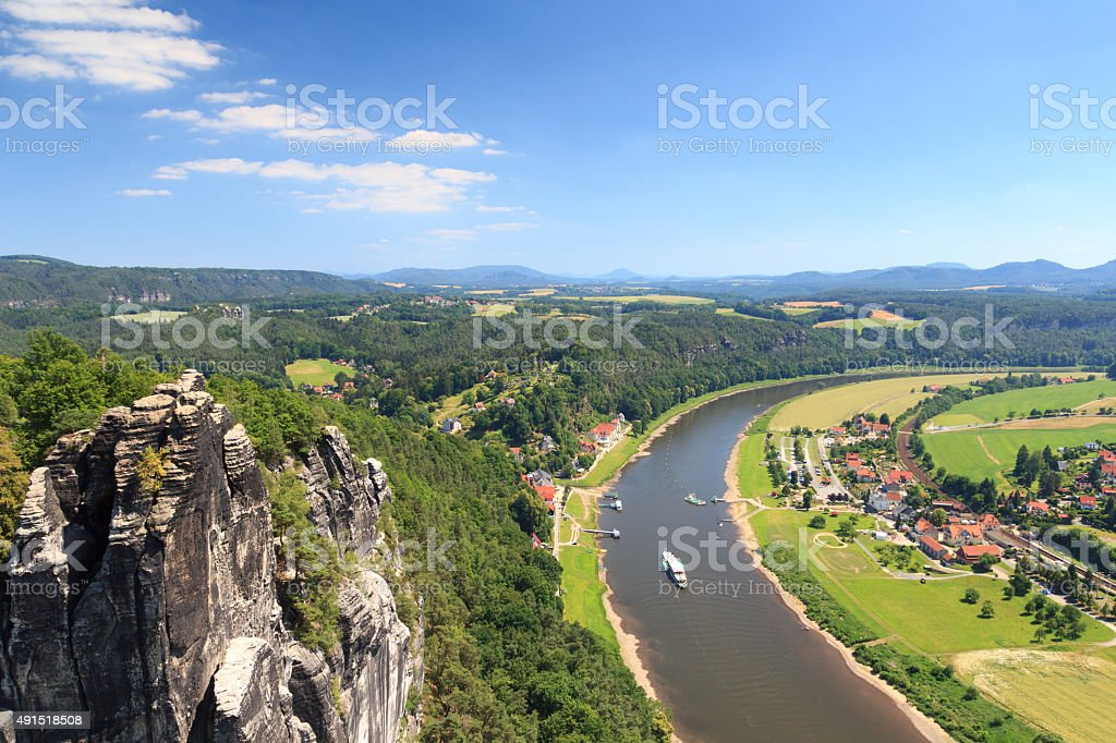 Panorama view to Elbe and Rathen, Saxon Switzerland stock photo