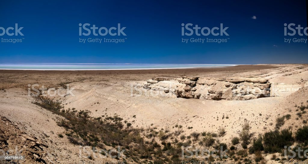 Panorama view to saline Barsa Kelmes lake and Ustyurt plateau in Karakalpakstan, Uzbekistan royalty-free stock photo