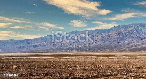 Wide angle view of the Death Valley desert against a blue sky