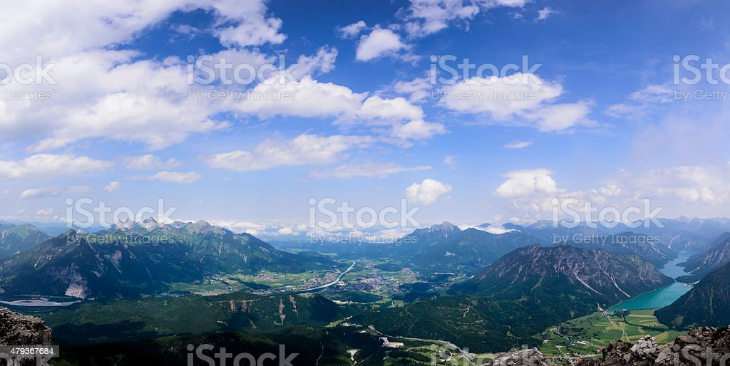 Panorama Village Reutte Tyrol Austria stock photo