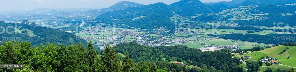Panorama vom Dürrnberg Richtung Hallein stock photo