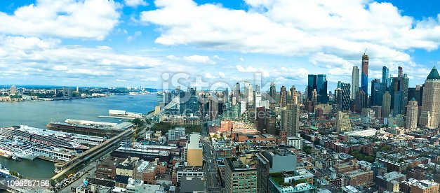 Panorama of Midtown/West Side Manhattan and Hudson River piers. View from above.