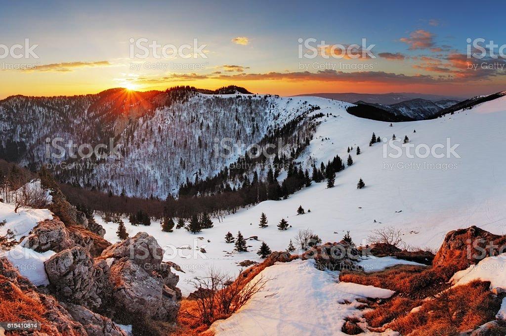 Panorama winter mountain landscape - Slovakia stock photo