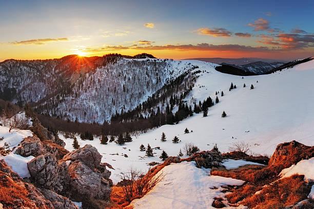 panorama winter mountain landscape - slovakia - 슬로바키아 뉴스 사진 이미지