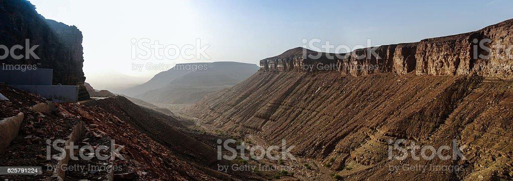 Panorama with Adrar mountain, rocks and gorge Mauritania stock photo