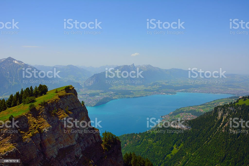 Panorama with alpine meadow from Niederhorn stock photo