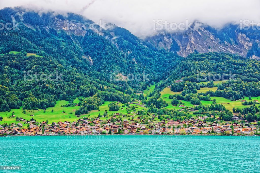Panorama with Brienz Lake and Brienzer Rothorn mountain Bern Switzerland stock photo