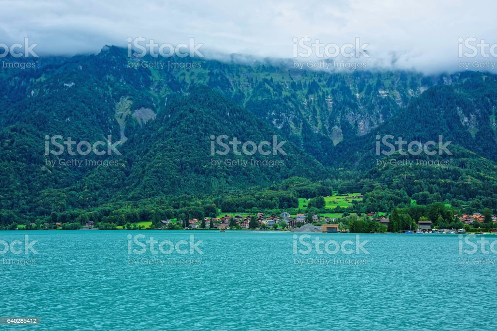 Panorama with Brienz Lake and Brienzer Rothorn mountain Bern Swiss stock photo