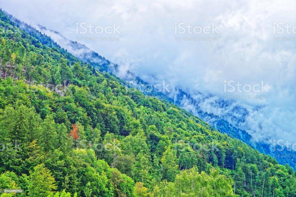 Panorama with Brienzer Rothorn mountain Brienz in Bern in Switzerland stock photo