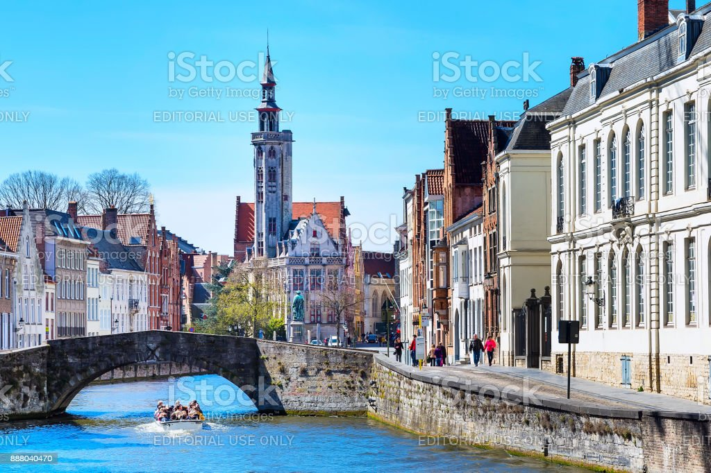 Panorama with canal and houses in Bruges, Belguim stock photo
