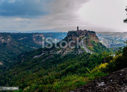 View of the medieval village of Civita di Bagnoregio (Viterbo; Lazio; Italy) called