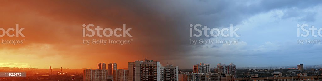 Panorama with drammatic looking skies stock photo