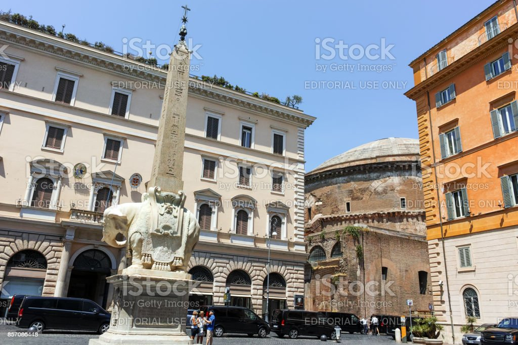Panorama with Elephant Obelisk and Pantheon in city of Rome, Italy stock photo