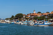 Panorama with fishing boats at The Port of Nessebar, Burgas Region, Bulgaria