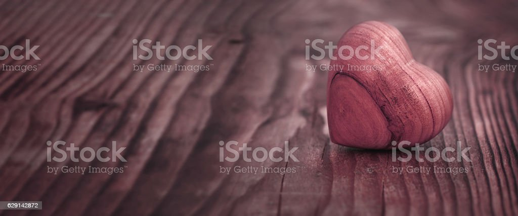 Panorama with heart on wood - foto de stock