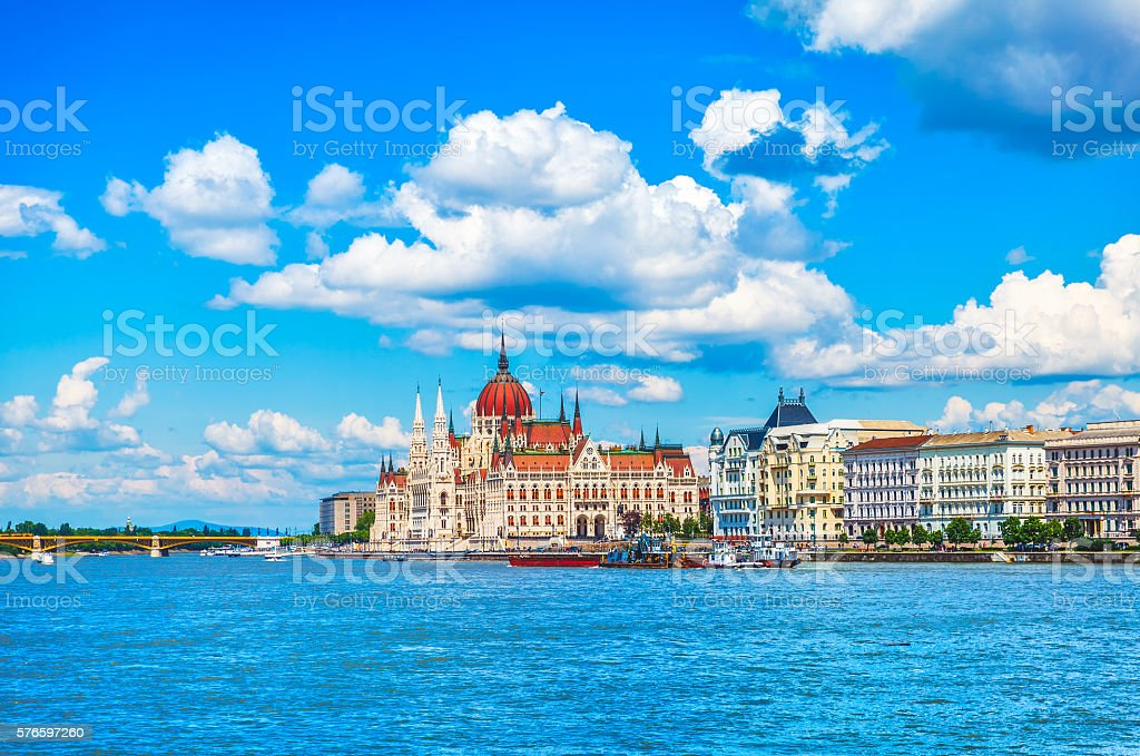 Panorama with hungarian parliament in budapest stock photo