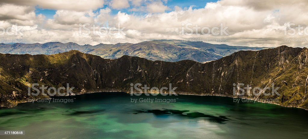 Panorama with Laguna Quilotoa. stock photo