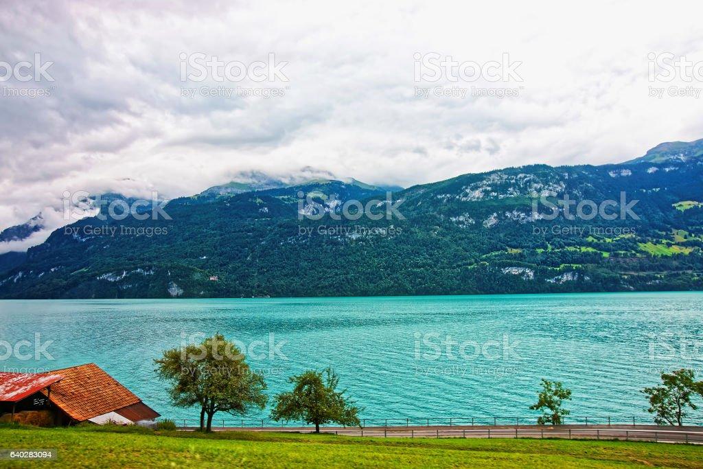Panorama with Lake Brienz and Brienzer Rothorn mountain Bern Switzerland stock photo