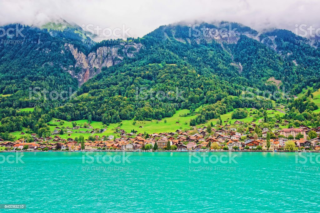 Panorama with Lake Brienz and Brienzer Rothorn mountain Bern Swiss stock photo