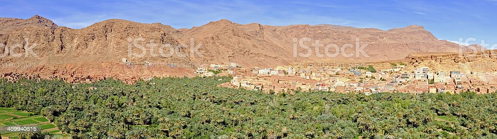 Panorama with oasis and village in the desert  Morocco Africa stock photo
