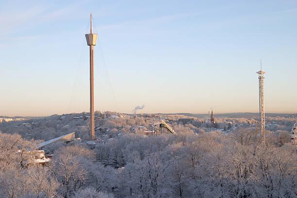 panorama  with snow and buildings,  downtown göteborg - liseberg bildbanksfoton och bilder