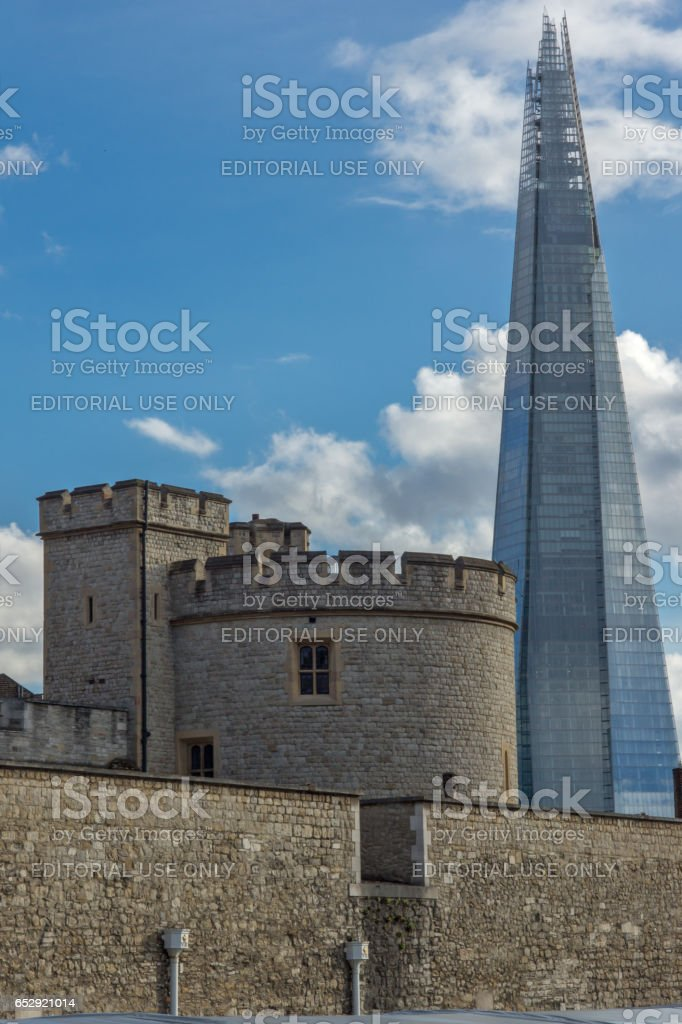 LONDON, ENGLAND - JUNE 15 2016: Panorama with Tower of London and The Shard, London, England stock photo