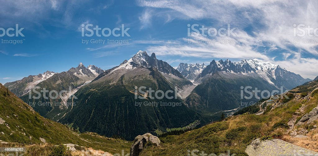 Panorama with view on Aiguille Vert in Mont Blanc Massif. stock photo