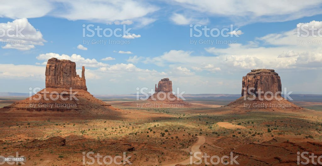 Panorama with West Mitten Butte, East Mitten Butte and Merrick Butte in Monument Valley. Arizona. USA stock photo