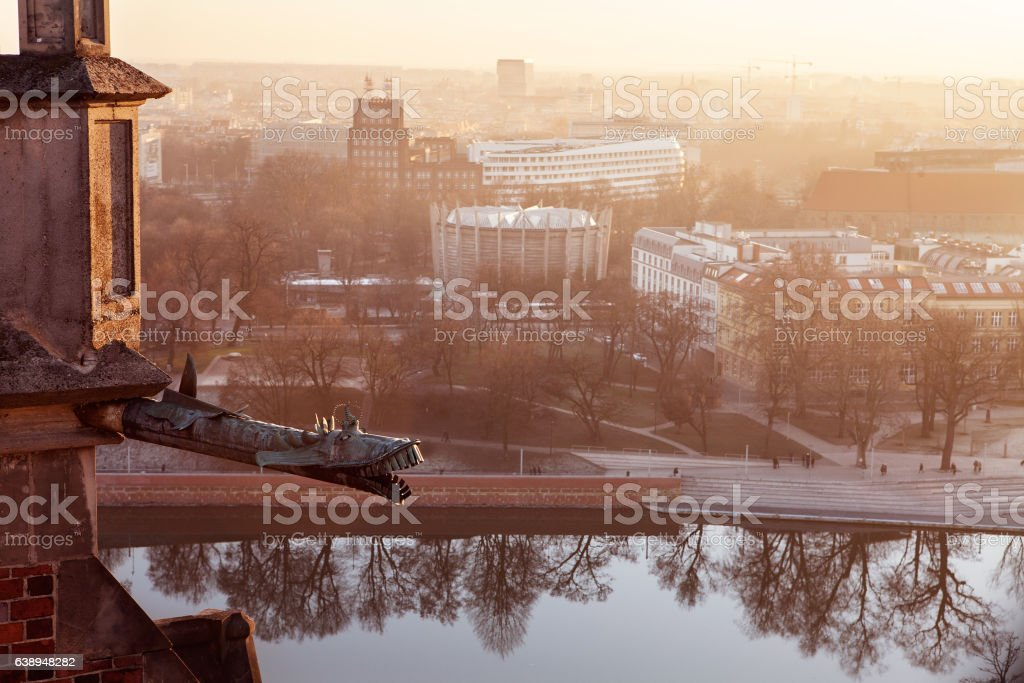 Panorama Wroclaw Old Town roofs at sunset. stock photo