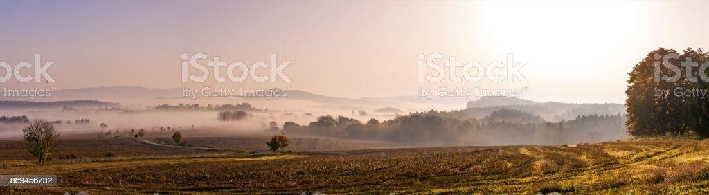 Panoramatic foggy autumn morning in Bohemian Paradise stock photo