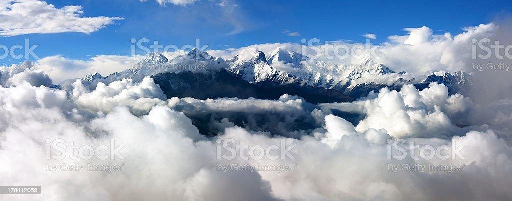 panoramatic view from langtang to ganesh himal royalty-free stock photo
