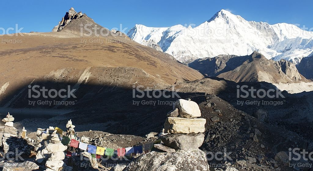 panoramatic view of Cho Oyu royalty-free stock photo