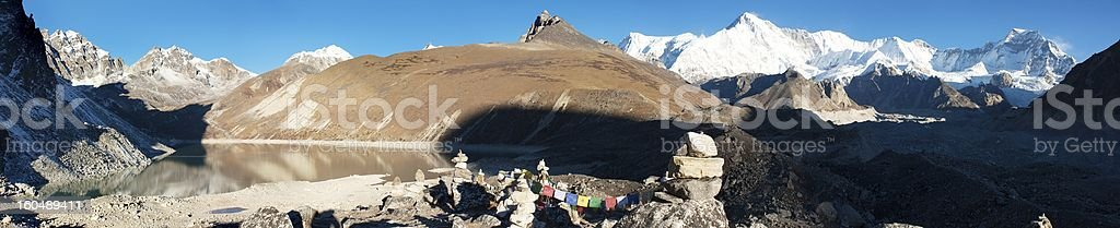 panoramatic view of Cho Oyu stock photo