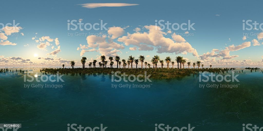 panoramia of tropical beach. made with one 360 degree lense stock photo