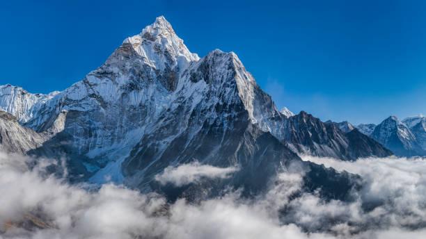 Panoramic 59 MPix XXXXL size view of Mount Ama Dablam in Himalayas, Nepal stock photo