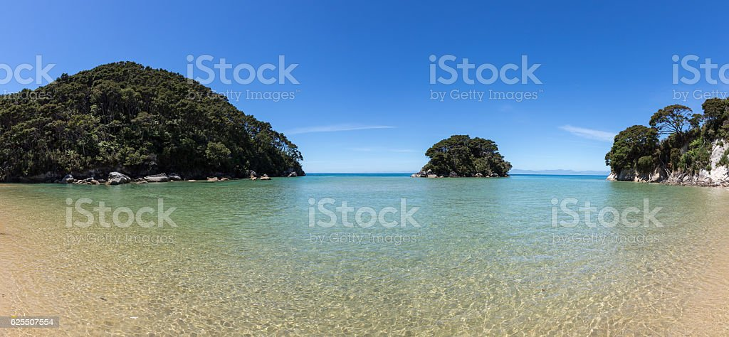 Panoramic Abel Tasman National Park Beaches, New Zealand South Island stock photo