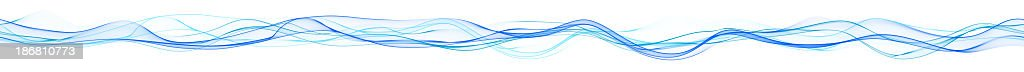 Panoramic abstract blue wavy lines XXXlarge royalty-free stock photo