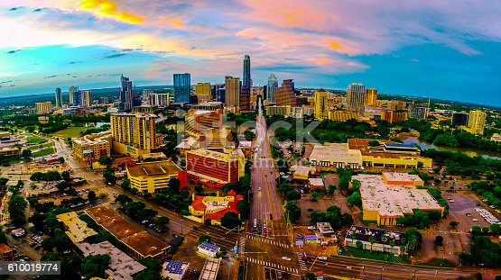 istock Panoramic Aerial Austin Texas Colorful Sunset Over Congress 610019774
