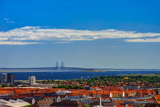panoramic aerial cityscape of copenhagen city and oresund bridge , denmark - öresundsregionen bildbanksfoton och bilder