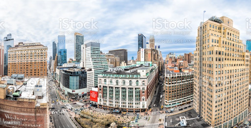 Panoramic Aerial Fisheye View Of Cityscape Rooftop Skyscrapers In New York City At Herald Square With Macys And Hm Stores Stock Photo Download Image Now Istock