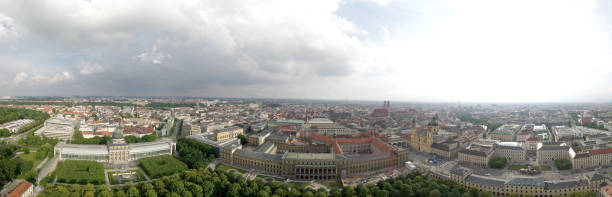 Panoramic Aerial shot of the center of Munich, Germany stock photo