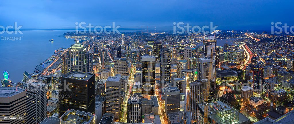 Panoramic Aerial Skyline View of Seattle Downtom stock photo