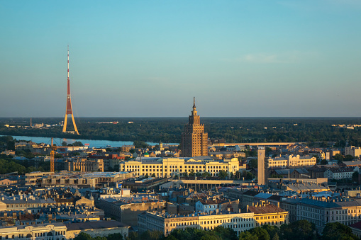 Panoramic aerial view Academy of Sciences and Riga Radio and TV Tower.